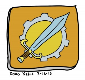 Doug's Daily Drawing #16 - 2013-3-16 - Gauntlet of Fools Attack Piece